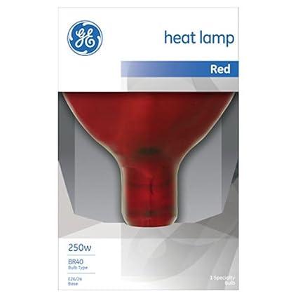 GE Lighting 37771 R40 Heat Lamp, Red, 250 Watt