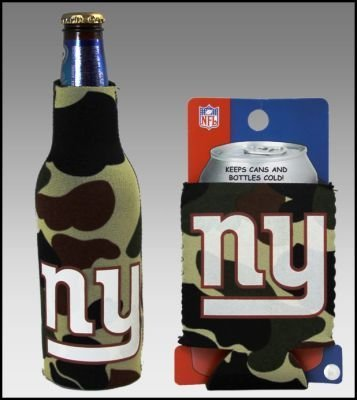 - SET OF 2 NEW YORK GIANTS CAMO BOTTLE & CAN KOOZIES