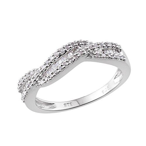 925 Sterling Silver Platinum Plated 0.345 cttw Round Diamond, Diamond Baguette Wedding Gift Ring Size (Baguette Diamond Platinum Wedding Band)
