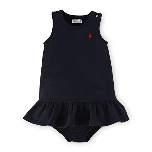 Ralph Lauren Baby Girls French Terry Dress & Bloomer (3 Months, Aviator Navy)