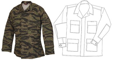 Atlanco Army Navy Tru-Spec BDU Coat CP Twill Vietnam Tiger Stripe L-Long 1619025 ()