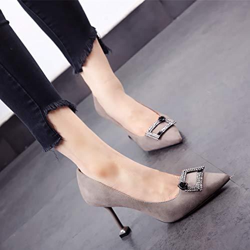 FLYRCX Europäische Frühling und Herbst Spitze Strass Stiletto Heels Heels Heels flachen Mund Einzelne Schuhe Damen Arbeitsschuhe 81fb84