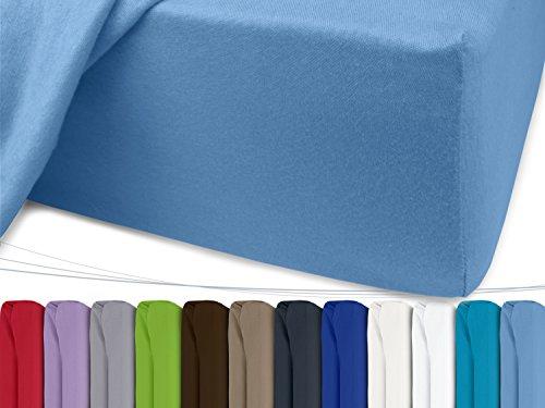 Jersey Spannbetttuch in unseren besten Farben aus 100% Baumwolle - in 5 Größen erhältlich, 120 x 200 cm, hellblau