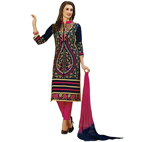 Ready to Wear Elegant Cotton Embroidered Salwar Kameez Suit (Blue Cotton Salwar Kameez)