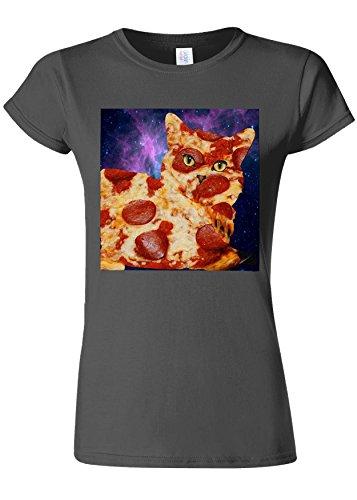 迫害混雑ブラウザPizza Cat Meow Kitten Funny Novelty Charcoal Women T Shirt Top-L