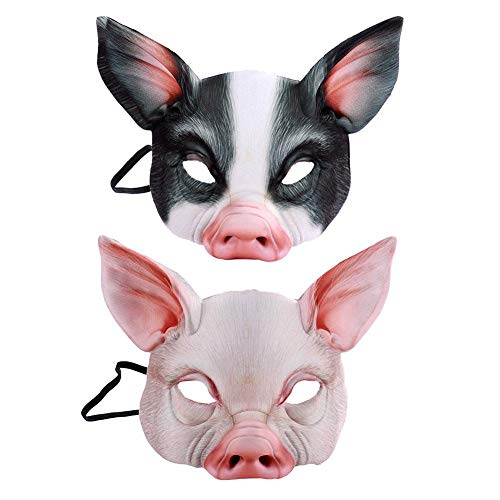 Halloween Mask Halloween Horror Dress Up Mask Half Face Animal Pig Mask Suitable for Halloween Haunted House ()