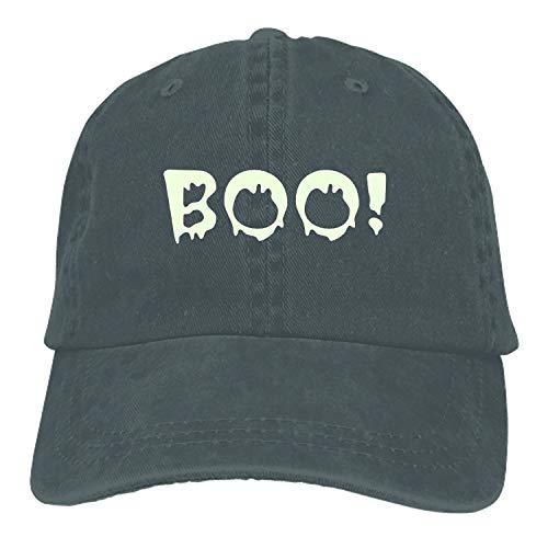 Halloween Boo Plain Adjustable Cowboy Cap Denim Hat for Women and Men -