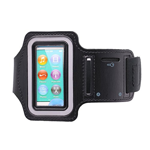 iPod Nano 7 Armband,NakCase Running Gym Sport Wrist Strap Armband,Enjoying Music Exercise Climbing Sports Armband Case for Apple iPod Nano 7(Black)