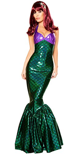 Musotica Girl's Daughter of Poseidon Little Mermaid Halloween Costume - Green/Purple - Small
