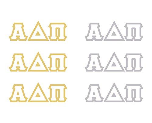 Alpha Delta Pi Metallic Gold & Silver Temporary Tattoo 6 Pack Set