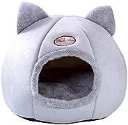 Cama de gato dobrável fofa, casinha de cachorro, colchão removível, gaiola semifechada, canil quente, ninhos p