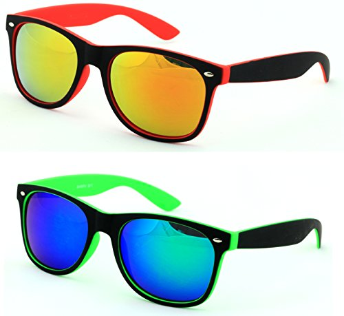 VW Eyewear - 2 Pairs Rubberized Soft 2-Tone Neon Horn-Rimmed Mirror Sunglasses (Red and Green)