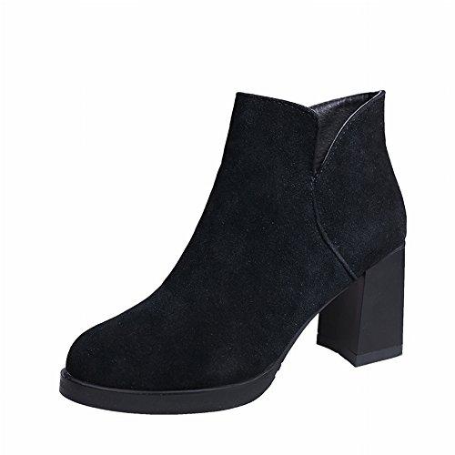 Bottes Femme Matte Daim Rugueux avec Martin Boots Side Glissière Bottes Chaussures , noir , 35,5 EUR