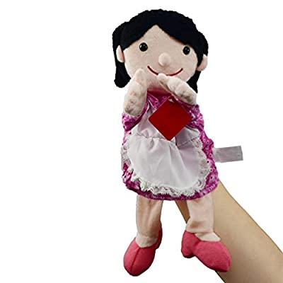 TOYANDONA Plush Puppet Toy Character Doll Family Member Hand Puppets for Children Kids Birthday Gift 30CM (Pink Mother): Toys & Games