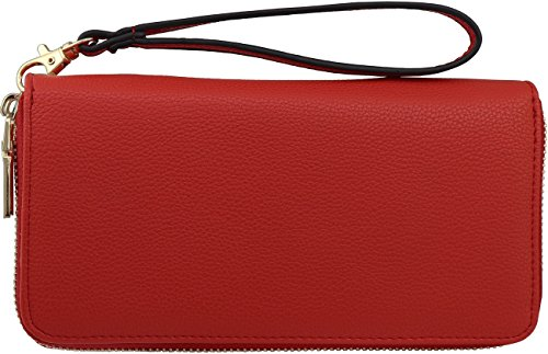 B BRENTANO Vegan Double-Zipper Wallet Clutch with Removable Wrist Strap (Cherry)