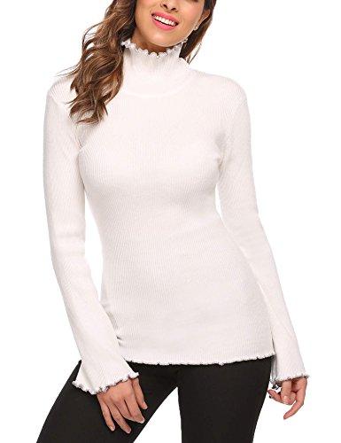 Zeagoo Women Turtleneck Long Sleeve Slim Fit Ruffles Hem Knit Sweater Beige XL