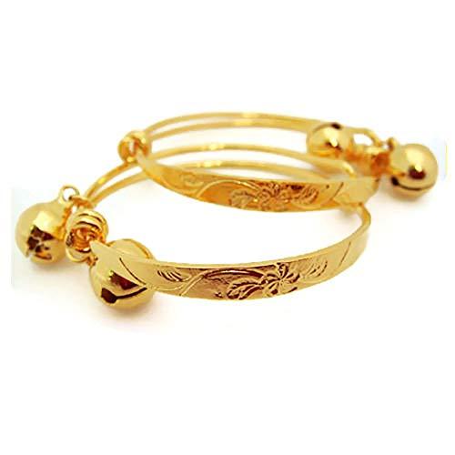 arrawana77 Flower 22k 23k 24k Thai Baht Yellow Gold Plated Anklet Baby Set Bell Gift Unisex Baby, Adjustable ()