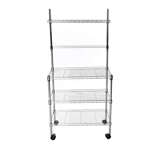 Blueseao Storage Rack,3-Layer Microwave Rack Storage Rack with Four-Wheel Storage Rack with Spice Rack -