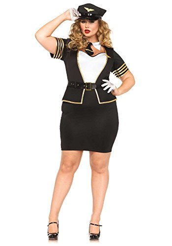 Leg Avenue Women's Plus-Size 4 Piece Mile High Pilot Costume, Blue/White, 3X
