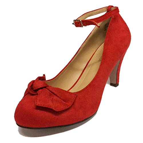 - Chase & Chloe Women's Retro Kimmy-67 Bow Front Faux Suede Mary-Jane Pumps (8 B(M) US, Red Suede)