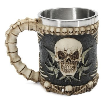 Skull And Bones Fiendish 3D Tankard Mug Drinking Cup Coffee Beer Pirate Gothic - Bar Tools & Accessories Wine Glass & Accessories - 1 x Plastic Folding Cup