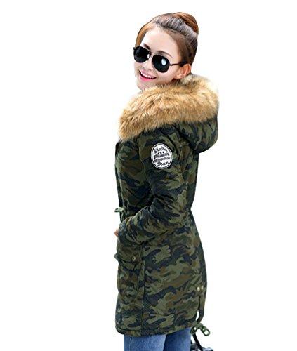 Manteau Militaire Camouflage Femme Capuchon Blouson Slim Chaude YOUJIA Veste Trench Vert Parka Longue HqRxpwB