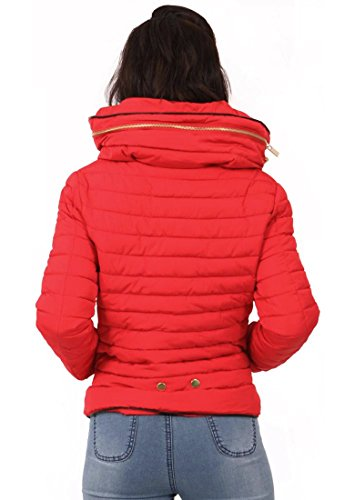 Bubble Womens Puffer Collar Warm UK Quilted Fur Coat Red Size Jacket New Padded Bomber 8 Quilted 14 TYgfxXdqn