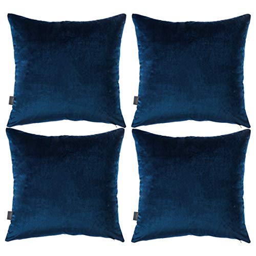 Patterned Pumpkin - 4 Pack Soft Velvet Cushion Covers,Comfortable Decorative Square Throw Pillow Covers for Sofa Bedroom Couch 18 x 18 Inch 45 x 45 cm(Cover Only,No Insert) (Dark Blue)