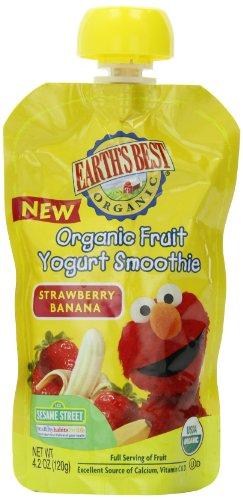 Earth's Best Sesame Street Fruit Yogurt Smoothies - Strawberry Banana - 4.2 oz - 6 pk