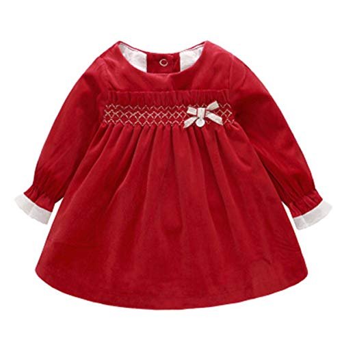 Kanodan Warm Baby Toddler Girl Princess Dress Velvet Ruffle Dress with Bowknot 0-18M (Red, 3-6Months) ()