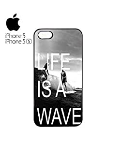 Life is a Wave Surfing Surfer Mobile Cell Phone Case For HTC One M8 Cover &5s White