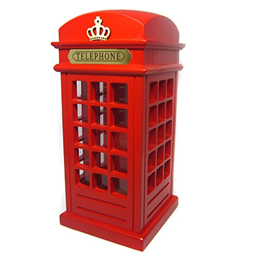 (D-Foxes Retro Vintage Wooden Britain Telephone Booth Coin Banks London Street Booth Bank Spare Change Piggy Souvenir Gift Model Box Jar (Red))