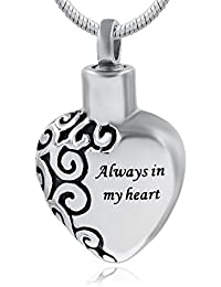 Always in My Heart Cremation Urn Necklace for Ashes