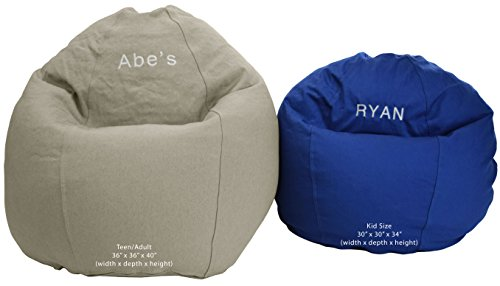 Personalized Bean Bag Chair - Bean Bag Chair Kid Size Personalized Embroidered Comfy Bean - Medium Blue