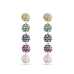 White Gold Natural Diamond Drop Corundum Earrings