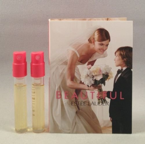 2 Estee Lauder Beautiful EDP Spray Sample Perfume Travel Vial .05 Oz/1.5 Ml Each