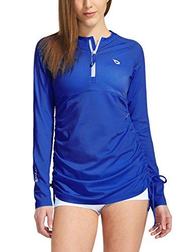 Baleaf Women's Long Sleeve Half-Zip Sun Protection Rashguard Side Adjustable Swim Shirt Royal Blue Size S