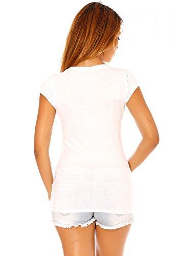 dmarkevous - Tee shirt blanc imprimé pin up - S-M, blanc