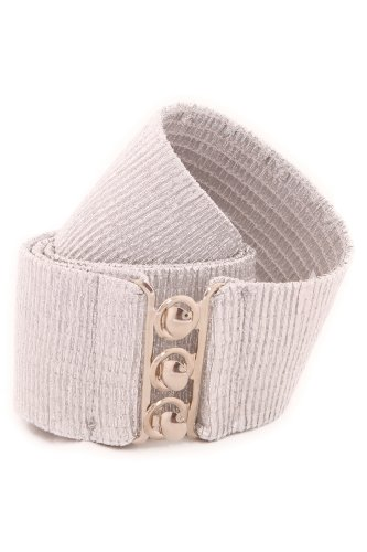 Malco Modes Wide Silver Gold Belt Cinch Waist Belt Stretch Belt X-Large Silver (Ruby Belted Belt)