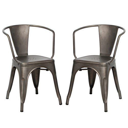 Outdoor Set Recliner (VIVA HOME Metal Dining Bistro Cafe Side Chairs,Indoor/Outdoor Chair, Set of 2, Gun Metal Grey)