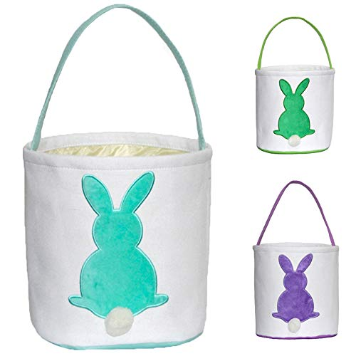 ERANLEE Easter Bunny Basket Reusable Storage Tote Bag Carrying Gifts Eggs for Easter Personalized Easter Bucket for Kids Party Gift Bags (Blue)]()