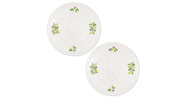 Dessert Serving Platter Holiday Christmas D/écor Set of 2 DII Round Christmas Mistletoe Serving Platter for Appetizers,Dinner