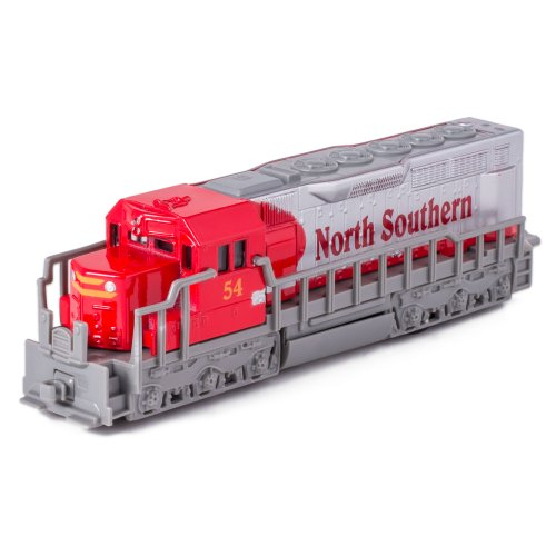 7 Red Die Cast Freight Train Locomotive Toy with Pull Back Action by Kinsmart