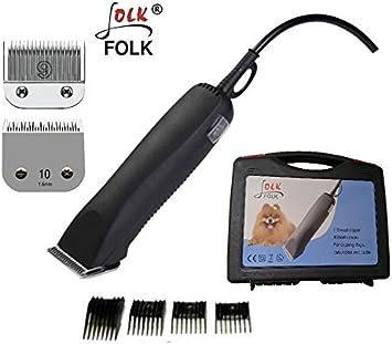 Folk Esquiladora peladora 45w Perros,Cuchillas Serie A5 Caballos, Gatos cortapelo (con 2 Cabezales Nº9 y Nº10)