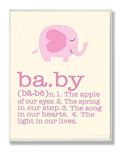 The Kids Room by Stupell Definition Of Baby With Pink Elephant Rectangle Wall Plaque, 11 x 0.5 x 15, Proudly Made in USA Baby Elephant Ornament