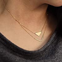 14K Solid Gold Geometric Layered Necklace Double Pendant Necklace Celebrity Necklace Minimalist Necklace with Adjustable Chain