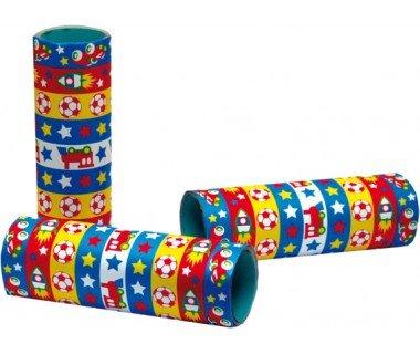 Luftschlangen mit Motiv (Stern, Eisenbahn, Fußball, Rakete), 14 mm Breite, 4 m Länge, 3er-Pack