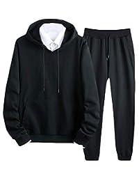 Hajotrawa-CA Men's Hooded Outfits 2 Piece Sportwear Sweatshirt Pants Tracksuit Set