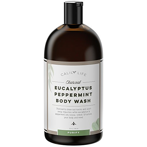 Calily Life Organic Detoxifying Charcoal + Eucalyptus + Peppermint Body Wash, 33.8 Oz. – Deep Cleansing and Refreshing + Therapeutic, Relaxing & Invigorating Cold Moisturizing Shower Gel
