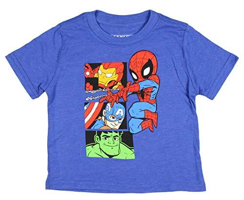 Avengers Shirt Toddler Boys' Spider-Man Hulk Ironman Captain America Licensed T-Shirt Tee (5T) Heather Royal -